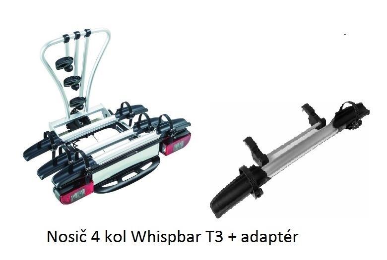 Nosič 4 kol na tažné zařízení - Whispbar T3 + adaptér - DOPRAVA ZDARMA
