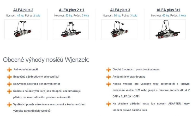Nosič kol na tažná zařízení - Wjenzek Alfa PLUS 3+1 - k VYPŮJČENÍ č.6