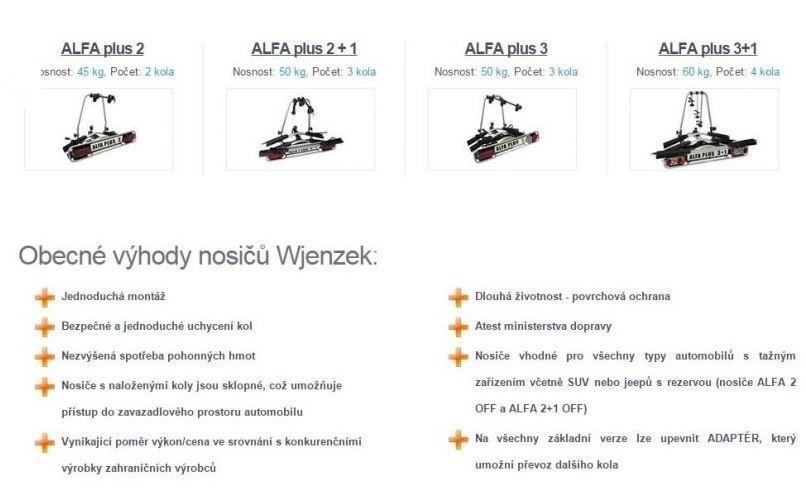 Nosič 3 kol na tažné zařízení  - ALFA plus 3 - DOPRAVA ZDARMA č.5