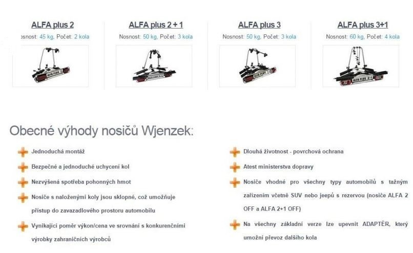 Nosič 3 kol na tažné zařízení - Alfa PLUS 2+1 - DOPRAVA ZDARMA č.5